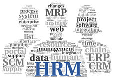 Concept van het het middelbeheer van HRM het Menselijke in markeringswolk Royalty-vrije Stock Afbeelding