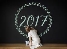 Concept van het nieuwjaar 2017 het Grafische Ontwerp Royalty-vrije Stock Foto