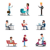 Concept van mensen het mobiele telefoons Moderne levensstijl vectorillustratie royalty-vrije illustratie
