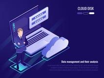 Concept van wolkenschijf en gegevens toegang, zakenmanverblijf op achtergrond van laptop met login vorm en wolkenpictogram vector illustratie