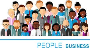 Concept of vector african american, european business peoples. Illustration of a international different manager man and woman Stock Images