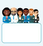 Concept of vector african american, european business peoples. Illustration of a international different manager man and woman Royalty Free Stock Image