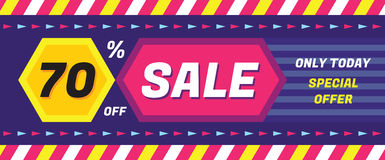 Concept vector banner - special offer - only today 70% off sale eveything. Sale vector banner. Sale abstract background. Stock Images