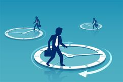 Businessmen walking on circles of time royalty free illustration