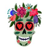 Concept Vector Card- Cute Skull with floral wreath.Vector illust. Ration in mexican tradition Stock Photography