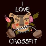 Concept Vector Card-I Love Crossfit. Vector background. Royalty Free Stock Photography