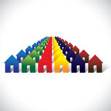 Concept vector community living - colorful houses or homes. In rows. The graphic contains home icons or signs in red, orange, yellow, blue, pink and other vivid Stock Image