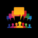 Concept vector graphic- leader & workers talking ( speech bubble Royalty Free Stock Photo