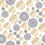 Concept vector illustration with gold and black snowflake. Holiday Christmas abstract seamless pattern for wrapping paper, surface design, background. Festive Royalty Free Stock Photography