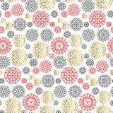 Concept vector illustration with gold and red snowflake. Holiday Christmas abstract seamless pattern for wrapping paper, surface design, background. Festive Stock Photos