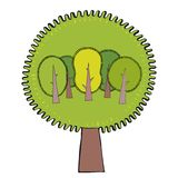 Ecological concept with trees. Green Eco Earth. Vector illustration. Concept  Vector illustration with hand drawing elements Royalty Free Stock Photos