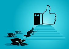 People obsessed with. Concept vector illustration of people worshiping thumb up icon. Social media concept, people obsessed with `like` icon, getting more Likes stock illustration