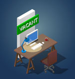 Concept vector illustration of a vacant workplace. An isometric table with a computer a table lamp and a cup of coffee. Concept isometric vector illustration of Royalty Free Stock Photography