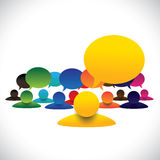 Concept vector of leader & members talking, manager meeting Stock Photography