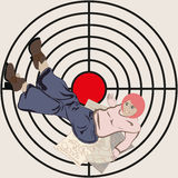 Concept vector middle-aged woman has reached the goal. Woman lying on writing paper, lifting his legs high up in the painted circular target with a red Mechain Stock Photo