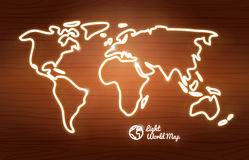 Concept vector neon world map. Royalty Free Stock Photos