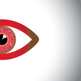 Concept vector of watching red eye. Concept vector of watching eye - beautiful half red eyes with copy space for text Royalty Free Stock Images