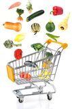 Purchases of vegetables on wwhite background stock photos