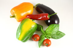 Concept of vegetarian food with tomatoes, yellow paprika, red chilli and green basil Stock Images