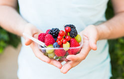 Concept of vegetarians, raw food and diets - close-up of man`s hands hold fruits and berries.  royalty free stock photo