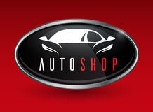 Concept vehicle logo of chrome badge with sports car silhouette Royalty Free Stock Photos