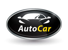 Concept vehicle logo of chrome badge with sports car silhouette Stock Photo
