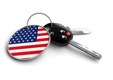 Concept for vehicles made in the United States. US vehicle indus. Set of car keys with USA flag. Concept for vehicles made in the United States. US vehicle royalty free illustration