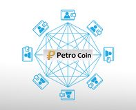 Concept of Venezuela`s Petro Coin. A Cryptocurrency blockchain platform , Venezuela Digital money royalty free illustration