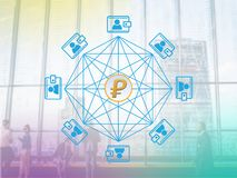 Concept of Venezuela`s Petro Coin,. A Cryptocurrency blockchain platform , Venezuela Digital money stock illustration