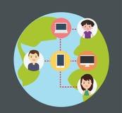 Concept verbindende mensen met technologie Royalty-vrije Stock Foto's