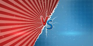 Concept of versus in retro comics style.. Template of design for against, confrontation, competition or challenge. VS letters on retro background. Vector Royalty Free Stock Images