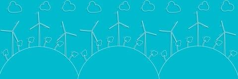Concept vert - énergie éolienne Générateurs de vents - style du vecteur 3d Photographie stock