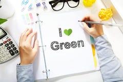 Concept vert d'amour du dessin I de personne sur le livre blanc Photo stock
