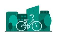 Concept vert d'?nergie Location de bicyclette dans une grande ville illustration libre de droits