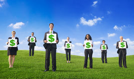 Concept vert de symbole dollar de plaquette d'affaires Photo libre de droits