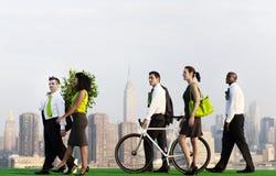 Concept vert de ville de banlieusards d'affaires Image stock