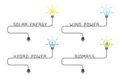 Concept vert et renouvelable de sources d'énergie avec l'ampoule illustration de vecteur