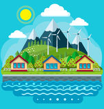 Concept vert sûr d'énergie dans un style plat Image stock