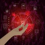 Concept vestiging een handcontrole op een rood Stock Afbeeldingen