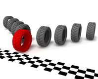Concept victory. Beating the red wins their opponents to cross the finish line Royalty Free Stock Photo