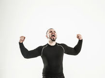 Concept of victory in sports-happy bodybuilder rejoice their vic Stock Photo