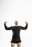 Concept of victory in sports-happy bodybuilder rejoice their victory Stock Photos