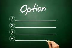 Concept vide de liste d'OPTIONS sur le tableau noir Image stock