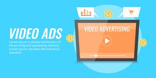 Video ad displaying on a tablet screen. Video advertising, digital media marketing concept. Flat design vector illustration. Concept of video advertising on Stock Photos