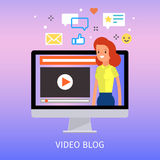 Concept of video blogging. The girl is in her video blog on the computer screen. Flat design, vector illustration Stock Photos