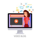 Concept of video blogging. The girl is in her video blog on the computer screen. Flat design, vector illustration Stock Photo