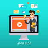 Concept of video blogging. The guy is in his video blog on the computer screen. Flat design, vector illustration Royalty Free Stock Photography