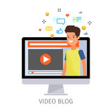 Concept of video blogging. The guy is in his video blog on the computer screen. Flat design, vector illustration Royalty Free Stock Image