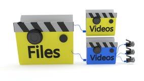 The concept of the video folder MainFolder, 3d rendering. The concept of the video folder MainFolder, 3d render Stock Photography
