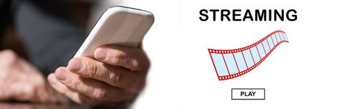Concept of video streaming stock image